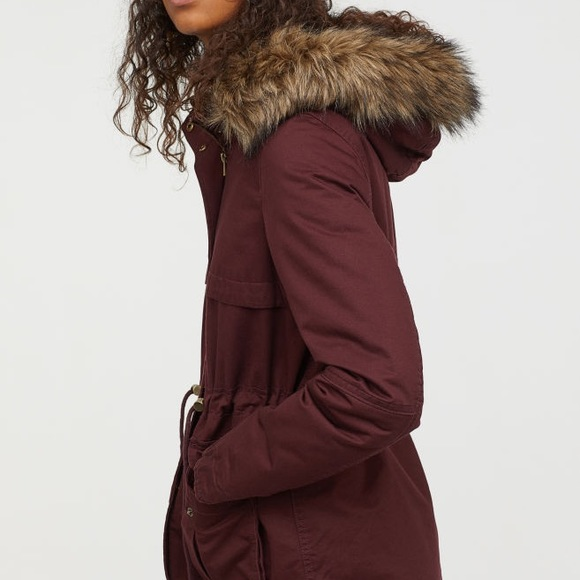 5de2bd2ff9f H&M DIVIDED Burgundy Faux Fur Parka